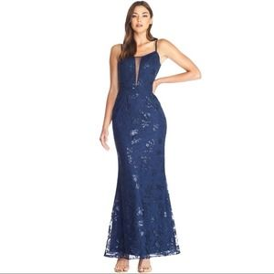 DTP Marie Mermaid Lace Sequins Gown NWT Med Navy